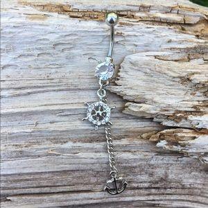 Silver Anchor Belly Button Navel Ring